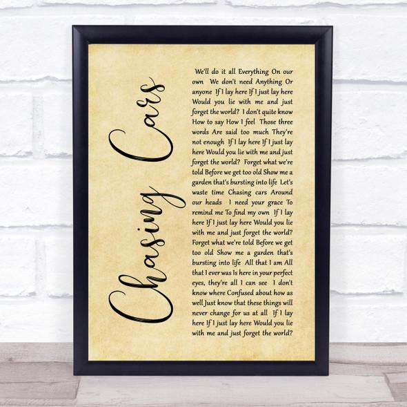 Snow Patrol Chasing Cars Rustic Script Song Lyric Quote Print