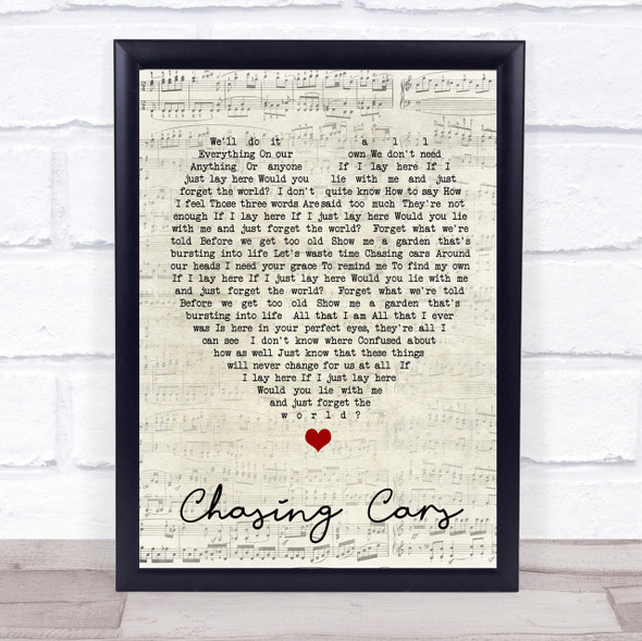 Chasing Cars Snow Patrol Script Heart Quote Song Lyric Print