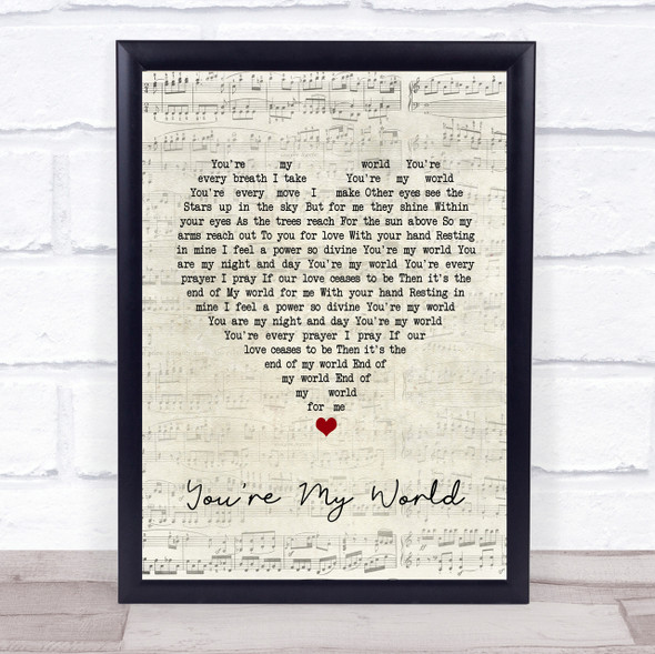 Cilla Black You're My World Script Heart Song Lyric Quote Print