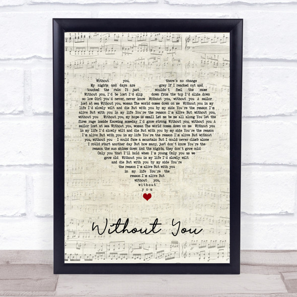 Motley Crue Without You Script Heart Song Lyric Quote Print