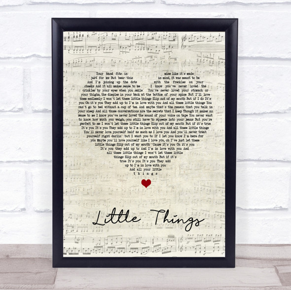 One Direction Little Things Script Heart Song Lyric Quote Print