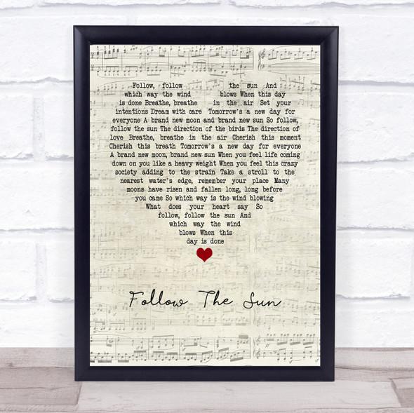 Xavier Rudd Follow The Sun Script Heart Quote Song Lyric Print