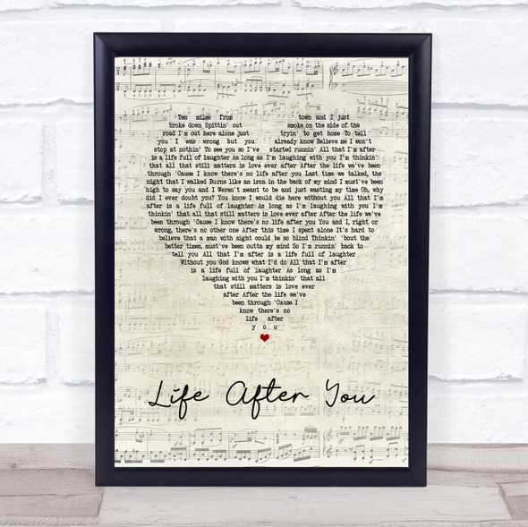 Life After You Script Heart Song Lyric Quote Print