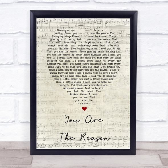 Calum Scott You Are The Reason Script Heart Song Lyric Quote Print