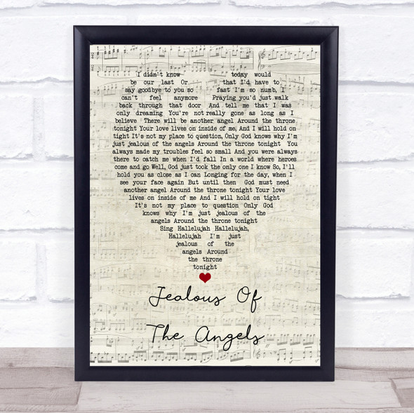 Katherine Jenkins Jealous Of The Angels Script Heart Song Lyric Quote Print