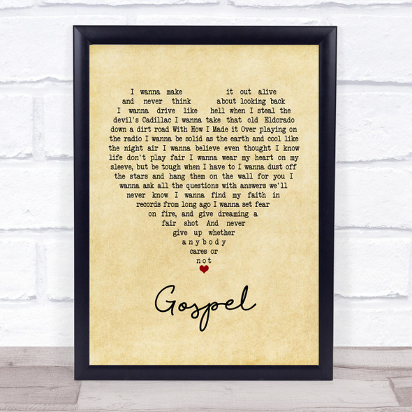 John Moreland Gospel Vintage Heart Quote Song Lyric Print