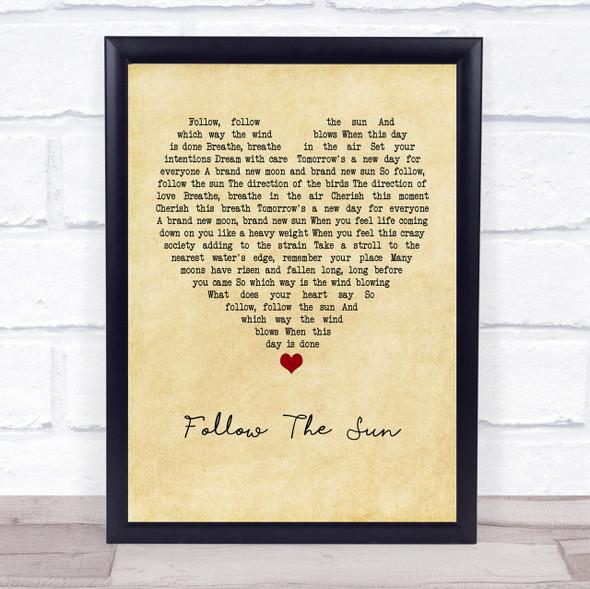 Xavier Rudd Follow The Sun Vintage Heart Quote Song Lyric Print