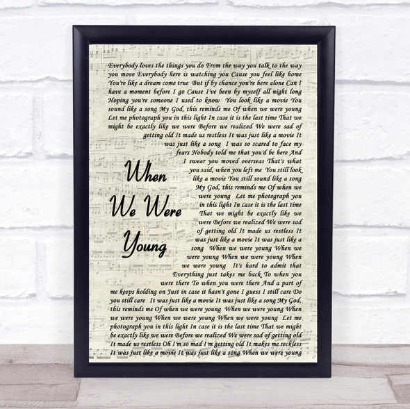 Adele When We Were Young Song Lyric Vintage Script Quote Print