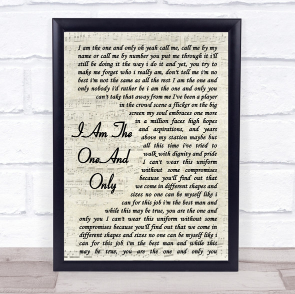 Chesney Hawkes I Am The One And Only Song Lyric Vintage Script Quote Print