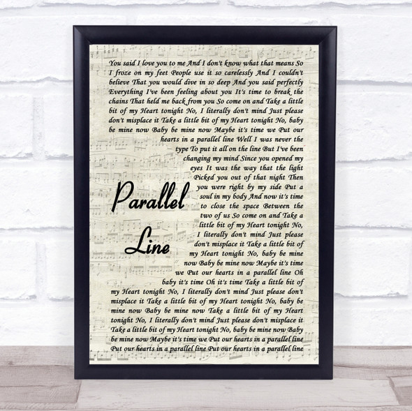 Keith Urban Parallel Line Song Lyric Vintage Script Quote Print