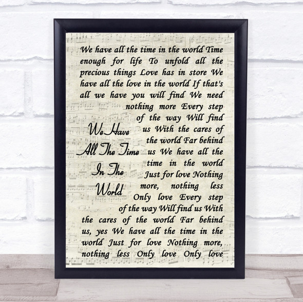 Louis Armstrong We Have All The Time In The World Song Vintage Script Print