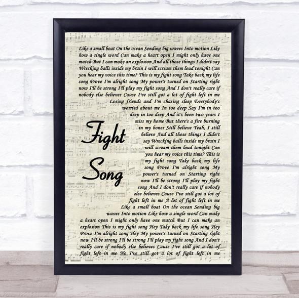 Rachel Platten Fight Song Song Lyric Vintage Script Quote Print