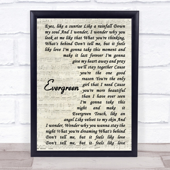 Will Young Evergreen Song Lyric Vintage Script Quote Print
