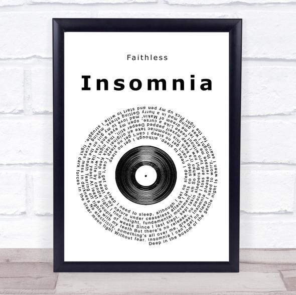 Faithless Insomnia Vinyl Record Song Lyric Quote Print
