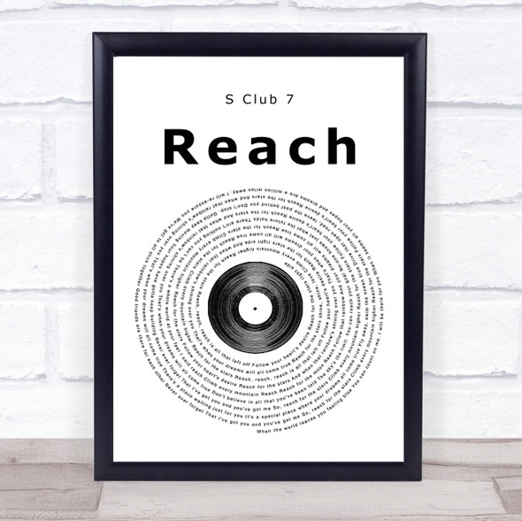 S Club 7 Reach Vinyl Record Song Lyric Quote Print