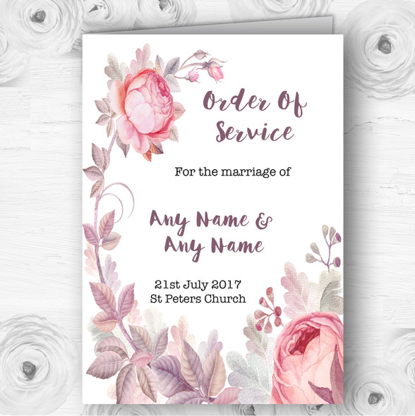 Beautiful Watercolour Floral Personalised Wedding Double Cover Order Of Service