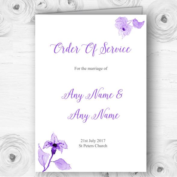 Beautiful Cadbury Purple Watercolour Flowers Wedding Cover Order Of Service