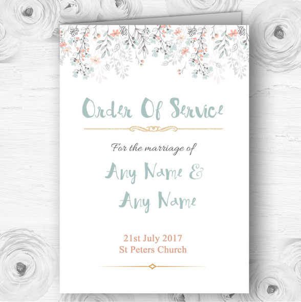 Coral & Blue Autumn Watercolour Wedding Double Sided Cover Order Of Service