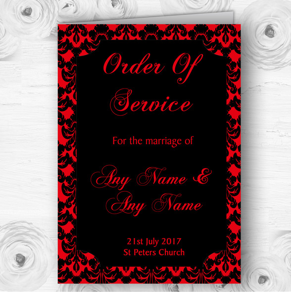 Deep Red Black Damask & Diamond Wedding Double Sided Cover Order Of Service