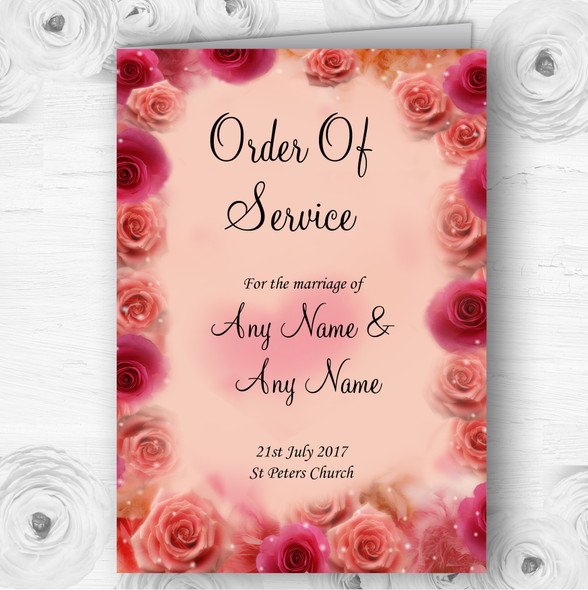 Peach And Pink Flowers Stunning Wedding Double Sided Cover Order Of Service