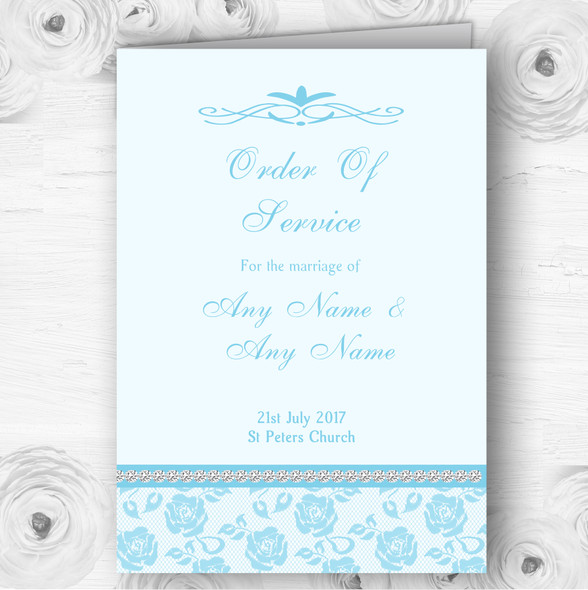 Pretty Sky Blue Floral Diamante Wedding Double Sided Cover Order Of Service