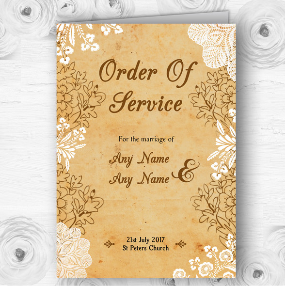 Shabby Chic Rustic Vintage Lace Wedding Double Sided Cover Order Of Service