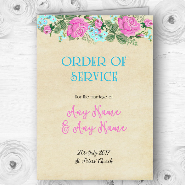 Vintage Pink & Blue Watercolour Wedding Double Sided Cover Order Of Service