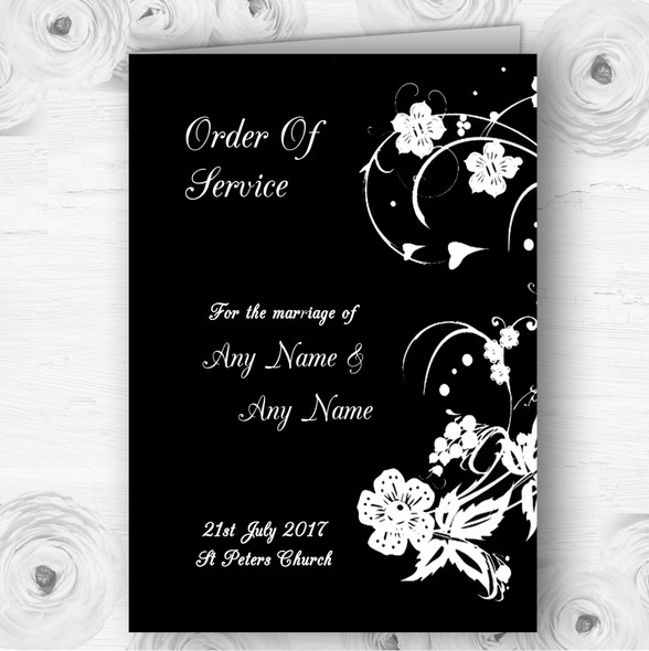 Black White Floral Personalised Wedding Double Sided Cover Order Of Service