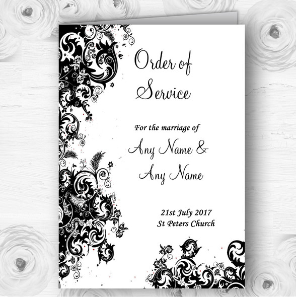 Black White Swirls Personalised Wedding Double Sided Cover Order Of Service