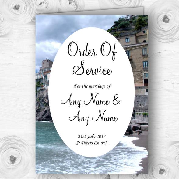 Italy Amalfi Coast Personalised Wedding Double Sided Cover Order Of Service