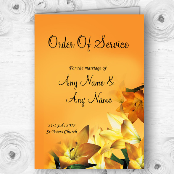 Orange Lily Flower Personalised Wedding Double Sided Cover Order Of Service