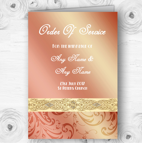 Peach Coral Damask Personalised Wedding Double Sided Cover Order Of Service