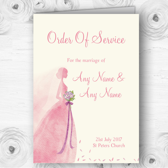 Pink Classic Bride Personalised Wedding Double Sided Cover Order Of Service