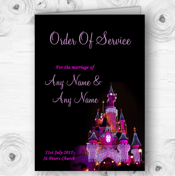 Pink Disney Castle Personalised Wedding Double Sided Cover Order Of Service