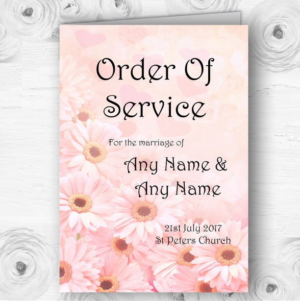 Pink Flower Hearts Personalised Wedding Double Sided Cover Order Of Service
