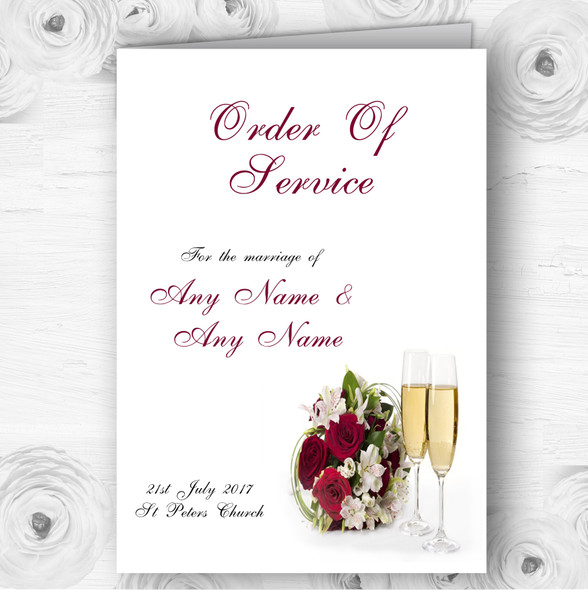 Red Rose Champagne Personalised Wedding Double Sided Cover Order Of Service