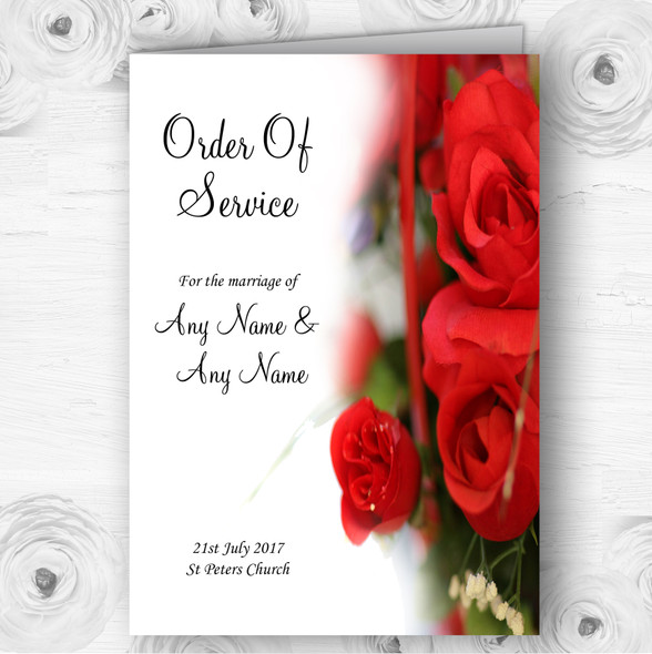 Romantic Red Roses Personalised Wedding Double Sided Cover Order Of Service