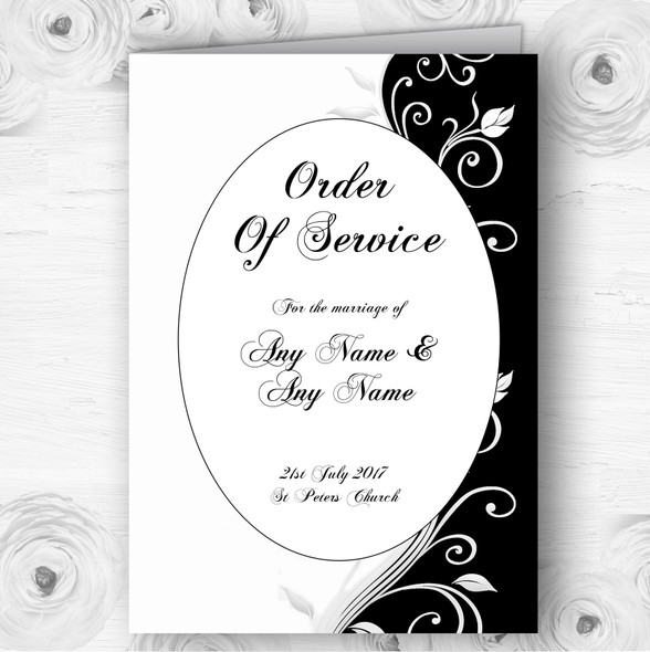 White Black Scroll Personalised Wedding Double Sided Cover Order Of Service