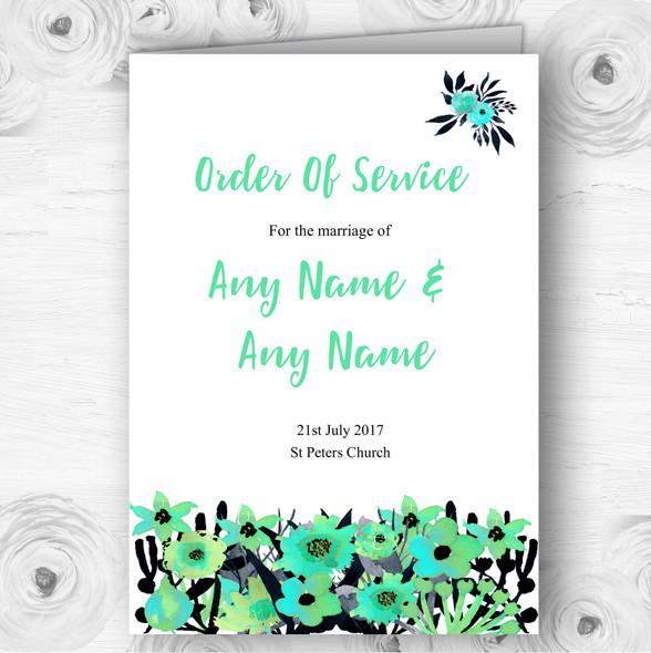 Black & Aqua Mint Green Watercolour Flowers Wedding Cover Order Of Service