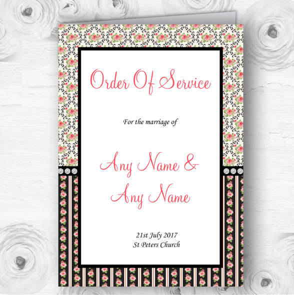 Black And Pink Shabby Chic Rose Tea Stripes Wedding Cover Order Of Service