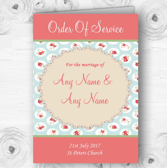 Light Blue And Red Roses Shabby Chic Chintz Wedding Cover Order Of Service
