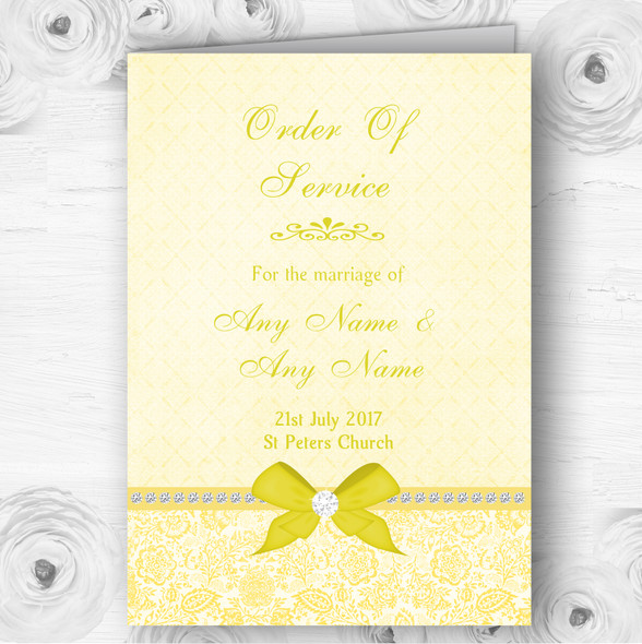 Pretty Floral Vintage Bow & Diamante Yellow Wedding Cover Order Of Service