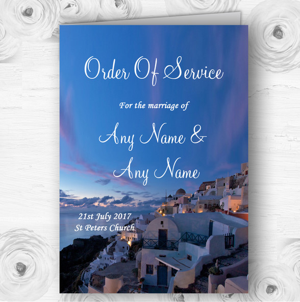 Santorini Greece Jetting Off Married Abroad Wedding Cover Order Of Service