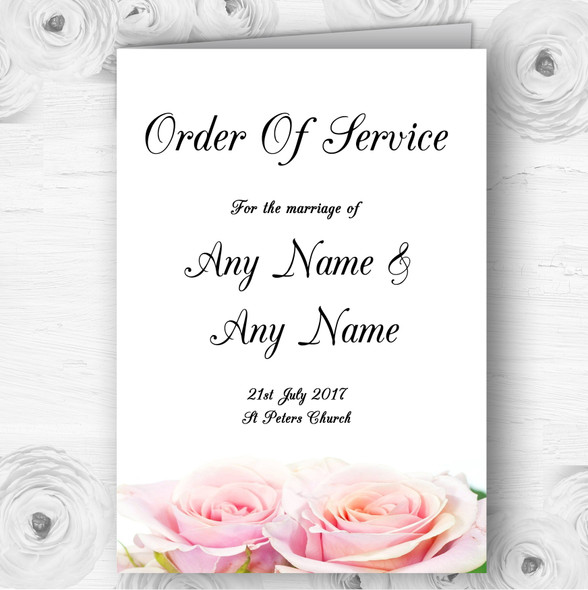 Gorgeous Pastel Pink Wet Roses Wedding Double Sided Cover Order Of Service