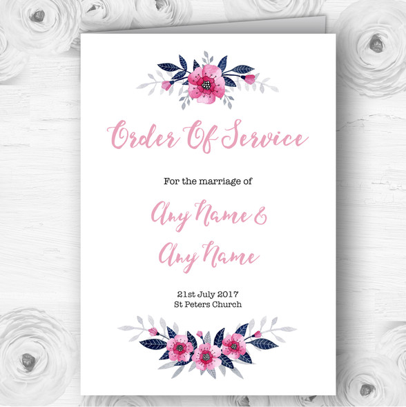 Navy Blue & Pink Subtle Floral Wedding Double Sided Cover Order Of Service