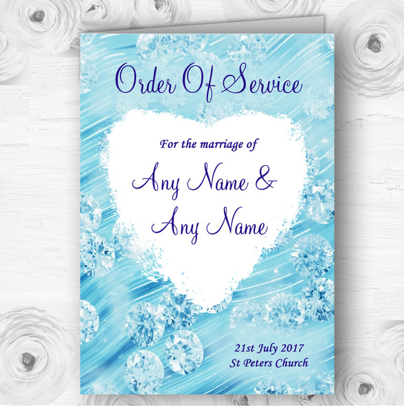 Pale Baby Blue Crystals Pretty Wedding Double Sided Cover Order Of Service