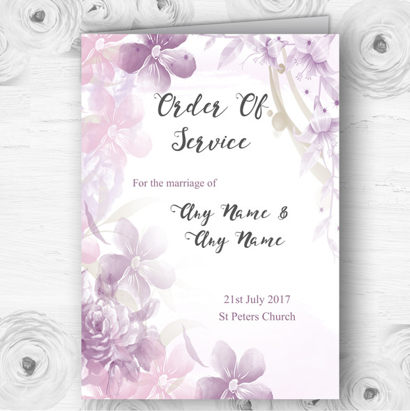 Pale Purple Watercolour Floral Wedding Double Sided Cover Order Of Service