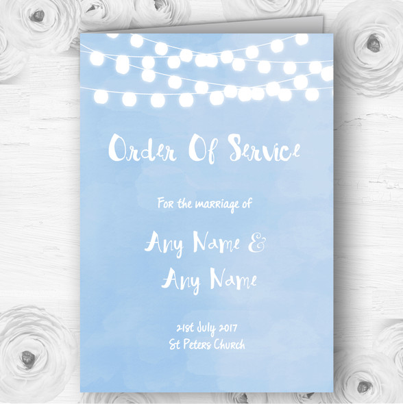 Powder Blue Lights Watercolour Wedding Double Sided Cover Order Of Service