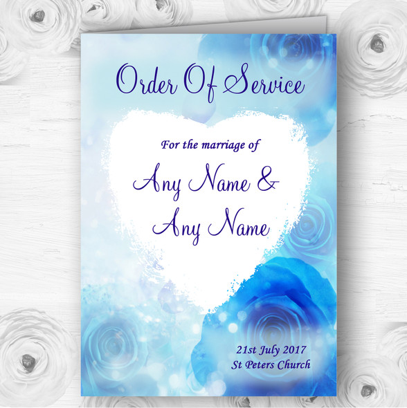Stunning Blue Flowers Romantic Wedding Double Sided Cover Order Of Service