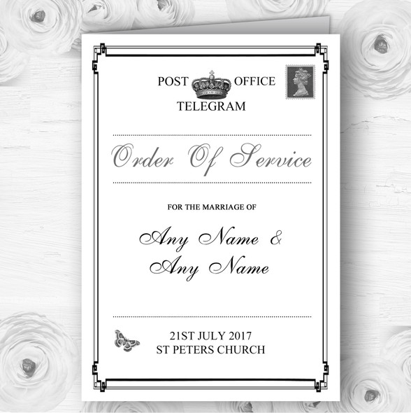 Vintage Telegram Elegant White Wedding Double Sided Cover Order Of Service